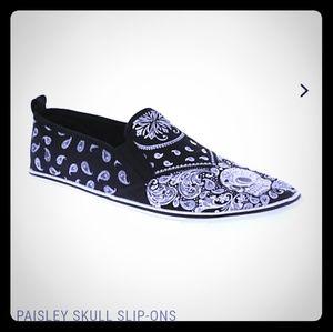 Hot Topic Skull Paisley Unisex Slip On Shoes W8/M6